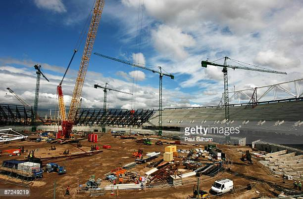 Work continues on the Olympic Stadium as IAAF President Lamine Diack visits London to view the construction of the 2012 Olympic Park and Stadium on...