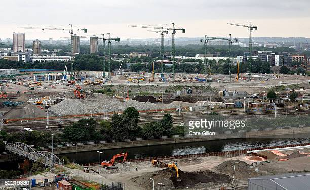 Work continues on the Olympic stadium at the London Olympic Park site on August 8 2008 in Stratford London England On the opening day of the Olympic...
