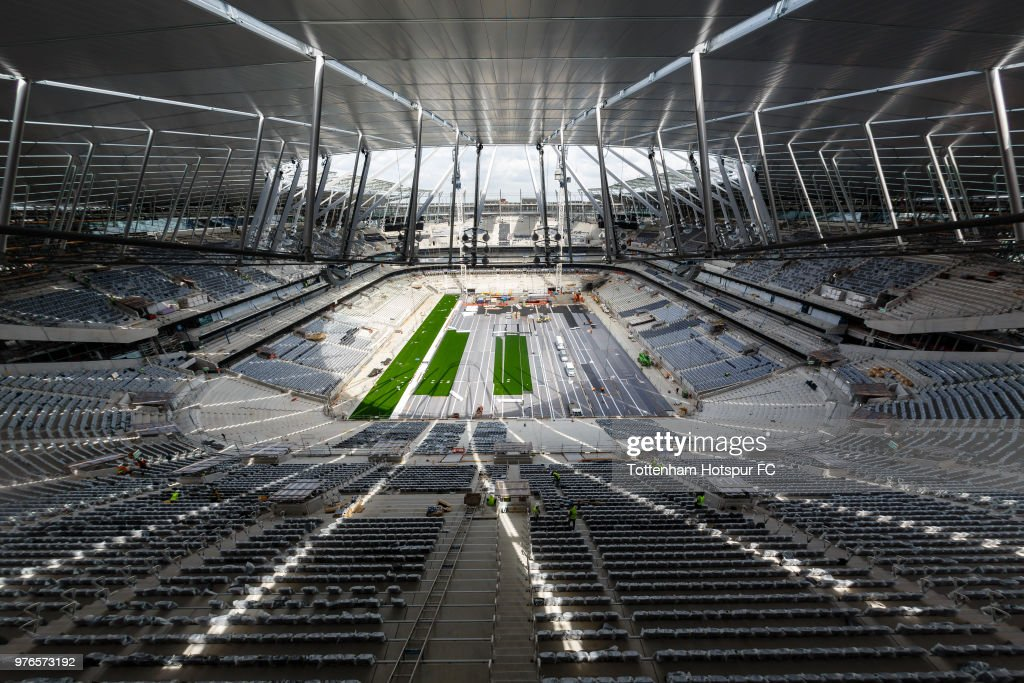 Work continues on the pitch area on Tottenham Hotspur's new stadium at White Hart Lane on June 13, 2018 in London, England.