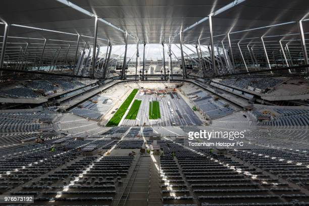 Work continues on the pitch area on Tottenham Hotspur's new stadium at White Hart Lane on June 13 2018 in London England