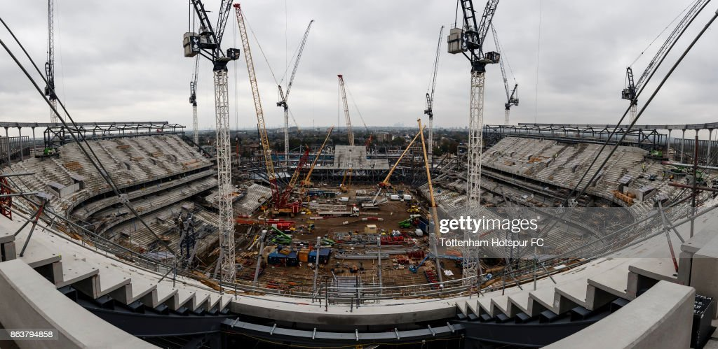 Work continues on Tottenham Hotspur's New Stadium at White Hart Lane on October 19, 2017 in London, England.