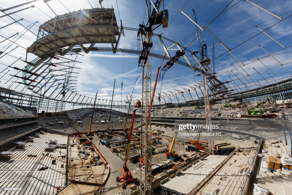 Work continues on Tottenham Hotspur's New Stadium at White Hart Lane on April 17, 2018 in London, England.