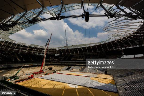 Work continues on Tottenham Hotspur's new stadium at White Hart Lane on July 5 2018 in London England