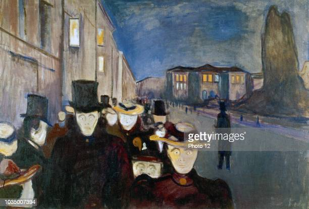 Work entitled Evening in Karl Johan Street by Norwegian artist Edvard Munch . This work was produced in 1892.