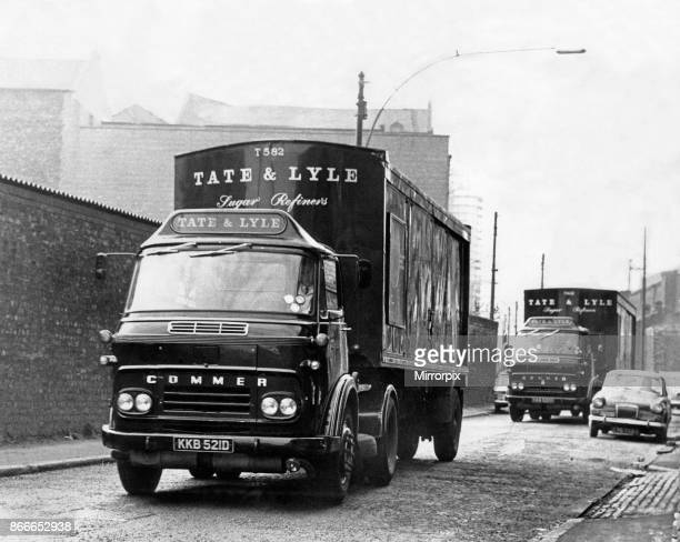 Work in progress at the Tate and Lyle sugar refinery in Love Lane near the docks in Liverpool after haulage drivers returned to work 8th April 1968