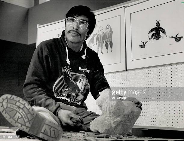 Work in progress: Inuit sculptor Jaco Ishulutaq got right down to work during his first visit to the Canadian south from his Baffin Island home. He...