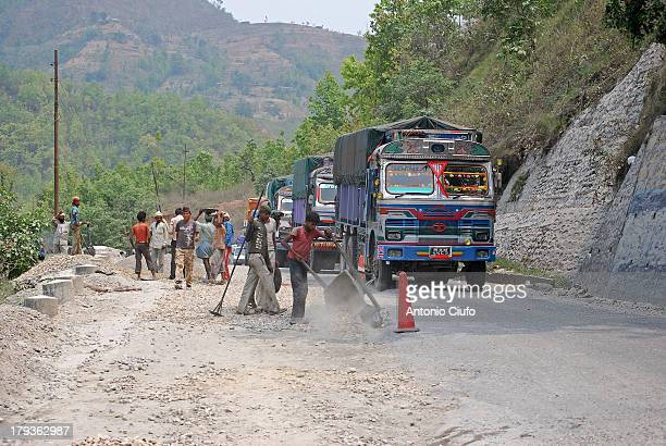 Work in progress on a road that leads from Kathmandu to Pokhara. Work on widening of roads, maintenance and recovery are always going on across the...