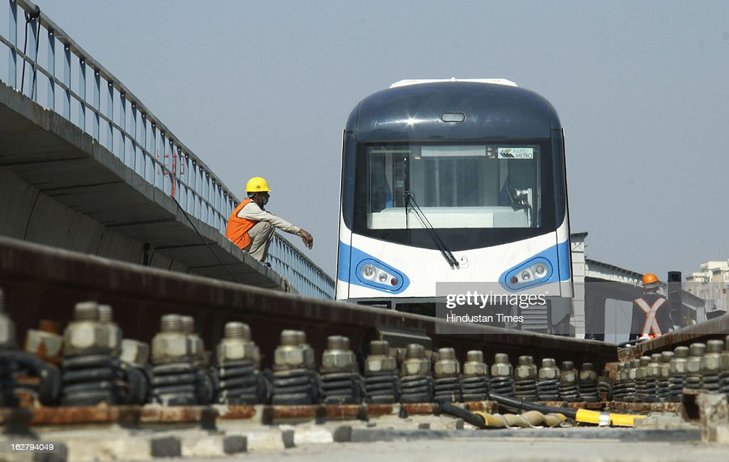 Work in progress on Gurgaon Rapid Metro Rail Project on February 27, 2013 in Gurgaon, India. Rapid Metro Rail Gurgaon is privately owned and operated metro, built and operated by DLF-ILFS consortium. RMGL plans to commence commercial operations by April 2013.