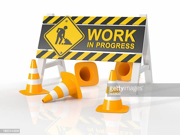 work in progress - traffic cone stock pictures, royalty-free photos & images