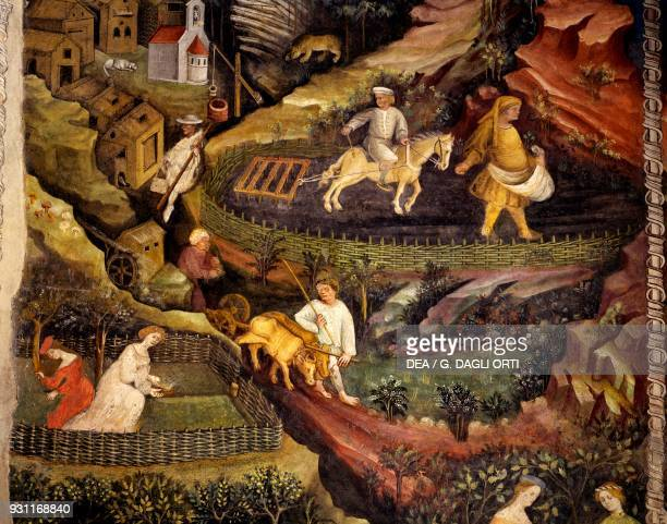 Work in the fields detail from the Month of October Cycle of the Months 13901400 fresco by Master Venceslao Torre Aquila Buonconsiglio Castle Trento...