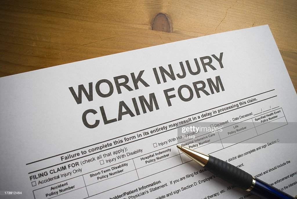 Work Injury claim form. : Stock Photo