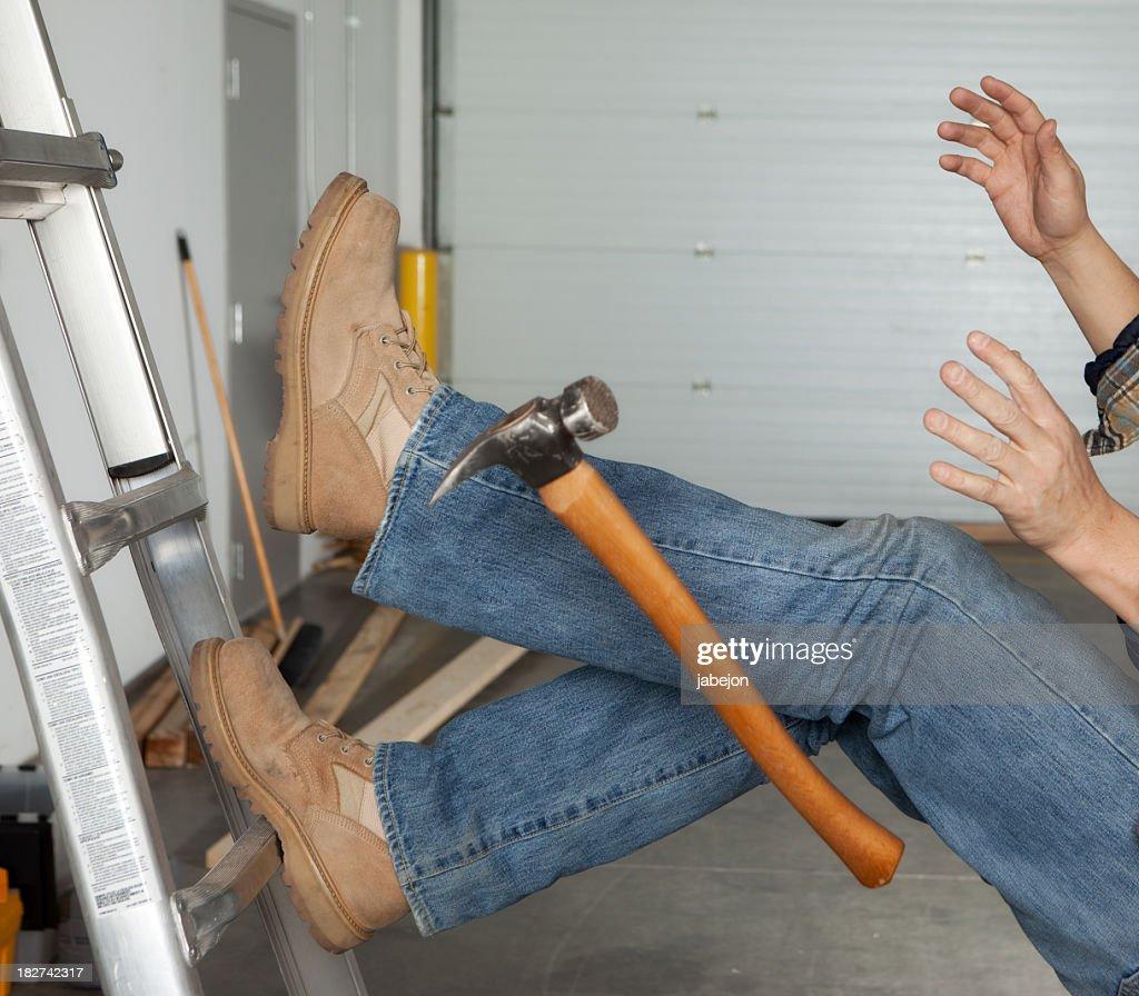 Work injury falling off a ladder : Stock Photo