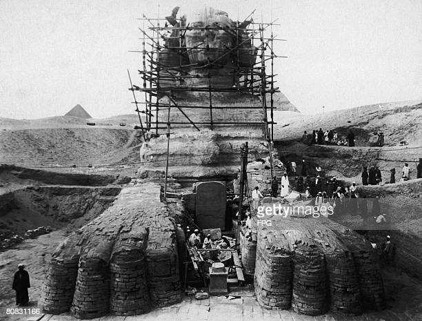 Work is carried out to excavate sand from around the body of the Great Sphinx of Giza 1925 The project will result in the statue being fully exposed...