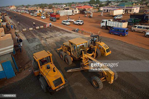 Work is in progress on a major road under construction as the government continues to make improvements on the city's streets July 19, 2012 in Juba,...