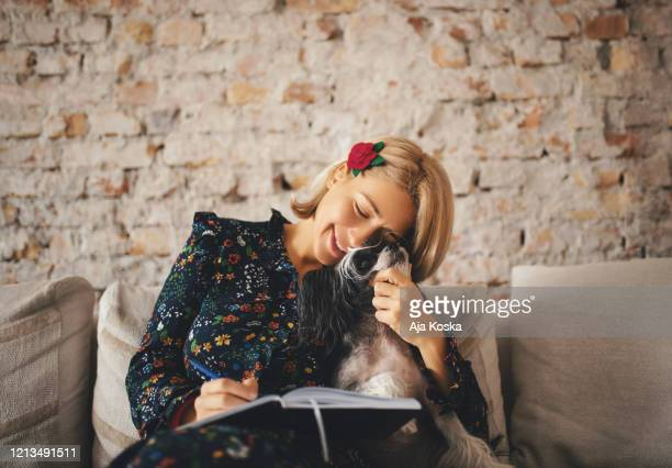 work is much easier when your best friend is with you. - dog pad foto e immagini stock