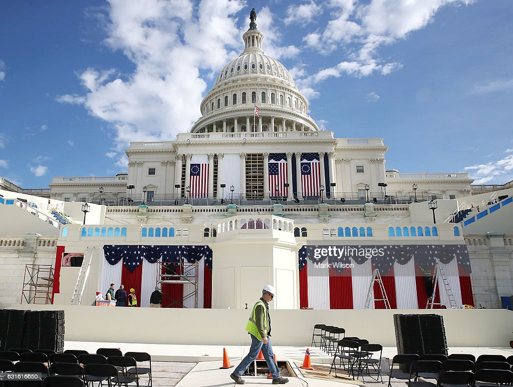 Work is still being performed on the stage ahead of next week inauguration at the U.S. Capitol, on January 13, 2017 in Washington, DC. On January 20, 2017 President elect Donald Trump with be sworn in as the nations 45th president.
