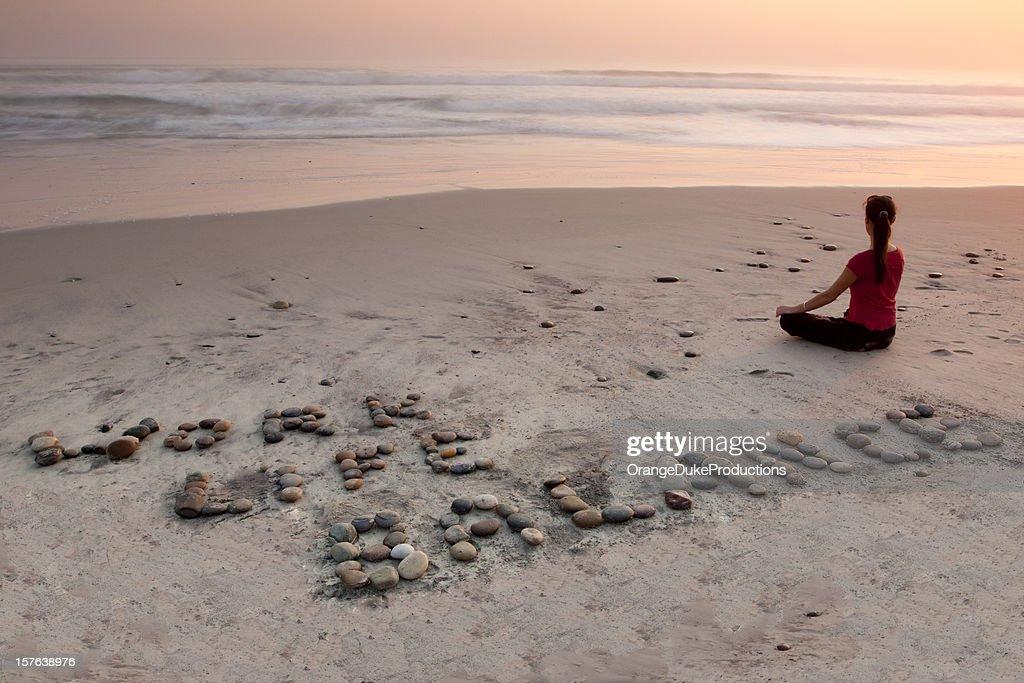 Work Life Balance at the Beach : Stock Photo