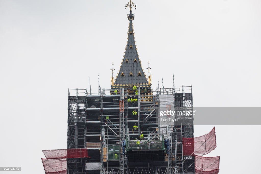 Work men move scaffolding on the Elizabeth Tower commonly known as Big Ben on February 21, 2018 in London, England. MPs will leave the Palace of Westminster in the next decade as £3.5bn of restoration work is carried out on the building.