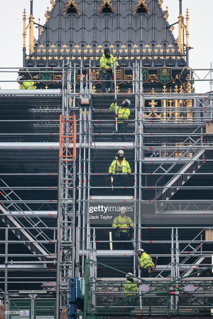 Work Progresses On The Elizabeth Tower And Big Ben : News Photo