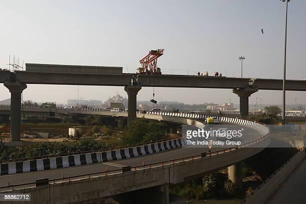 Work of Delhi Metro Rail Corporation is in Progress near Akshardham temple in New Delhi India