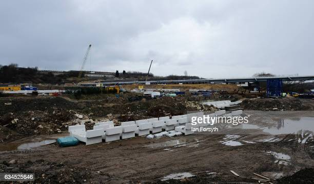 Work on the site continues as the final 100 metre centrepiece of Sunderland's new River Wear crossing is lifted into place on February 10 2017 in...