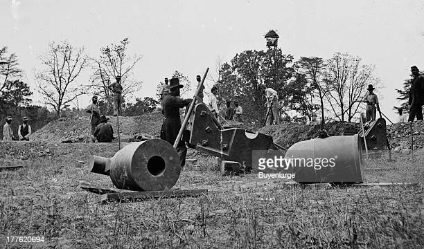 Work party and mortars at 'Butler's Crow's Nest' led by Captain Alfred Mordecai 1st Connecticut Heavy Artillery at Dutch Gap Virginia 1864