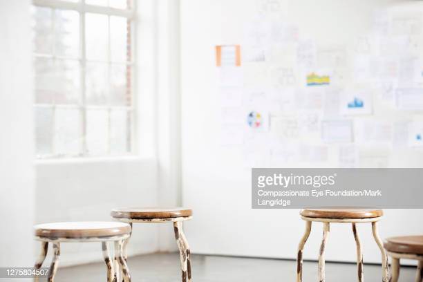 work pinned on wall for brainstorm - photography stock pictures, royalty-free photos & images