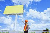 blank billboard at blue sky background