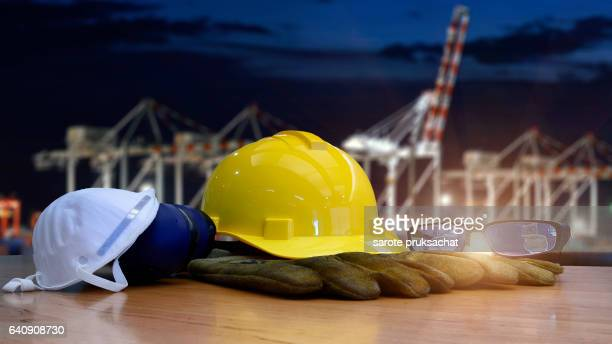 Work Safety in Construction  in Logistic Import Export concept