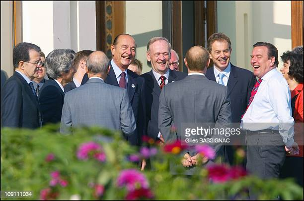 Work Session At The G8 Summit In Evian On June 3 2003 In Evian France Prodi Junichiro Koizumi Chirac Jean Chretien Tony Blair and GSchroeder