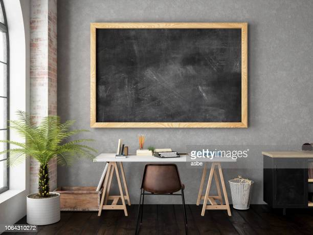 work space with blackboard - chalkboard stock photos and pictures