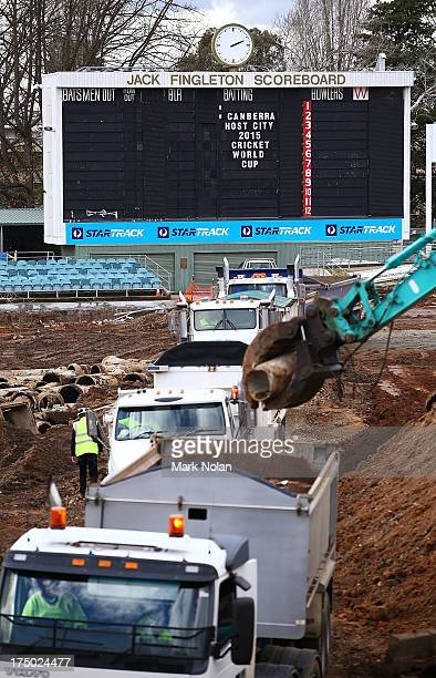 Work takes place on Manuka Oval in preparation for the 2015 ICC Cricket World Cup during the announcement of the ACT venues for the 2015 ICC Cricket...