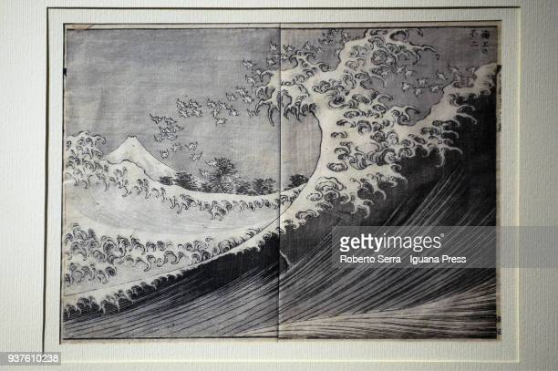 Work The Fuji from the Sea of the japanese artist Katsushika Hokusai insert in the Arthemisia's exhibition Japan at Palazzo Albergati on March 23...