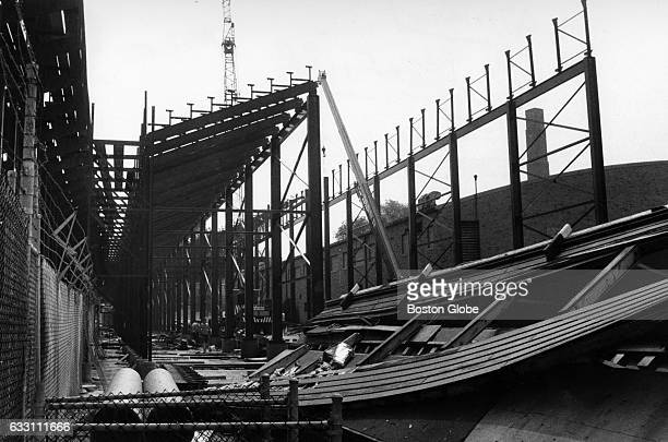 Work to increase the seating capacity goes on at Boston College's Alumni Stadium in Chestnut Hill Mass on Aug 20 1971