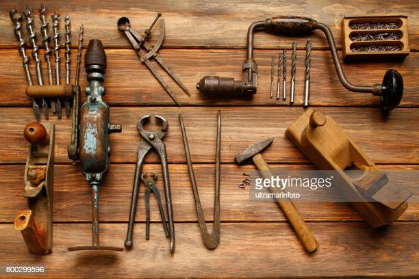 work tool  diy  vintage carpenter tools on rustic wooden table, hand tool - craft stock pictures, royalty-free photos & images