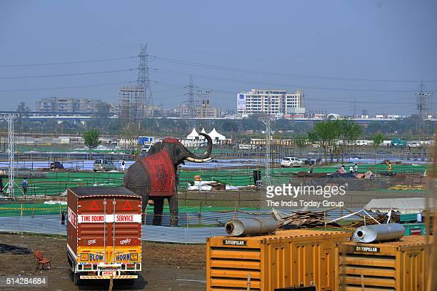 Work underway at the site of the World Culture Festival along the Yamuna flood plains in New Delhi