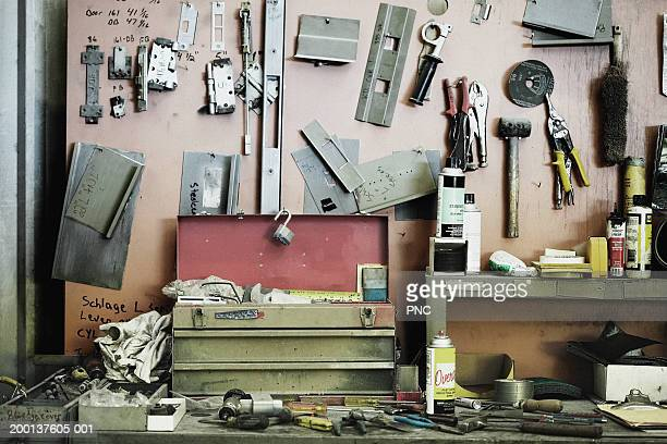 workbench cluttered with tools - shed stock pictures, royalty-free photos & images