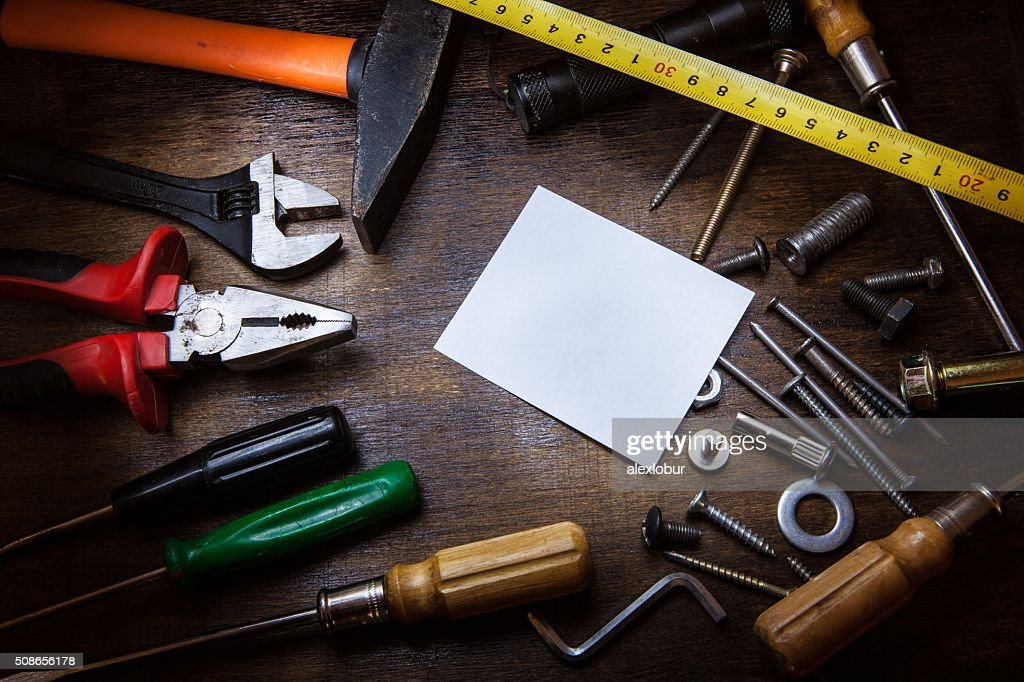 Workbench with instruments and Note. : Stock Photo