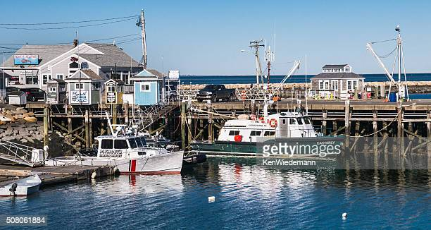 workboats at the dock - plymouth massachusetts stock photos and pictures