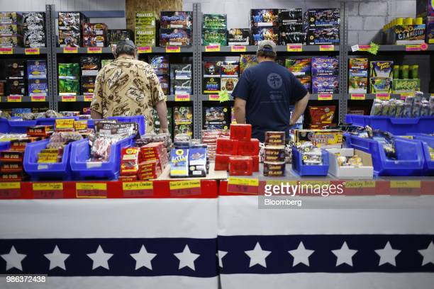 A worker assists a customer with fireworks on display for sale at a store in Muldraugh Kentucky US on Wednesday June 27 2018 According to the...