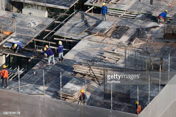 A worker at a construction site in Bangkok Thailand 02 December 2018