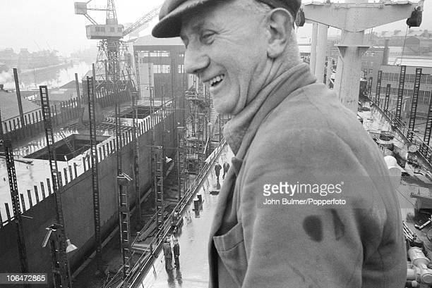 A worker at a shipyard in Greenock on the Clyde Scotland circa 1964