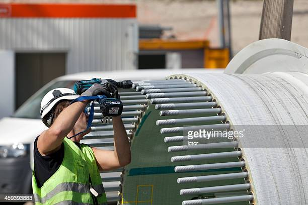 Worker at a wind turbine construction site