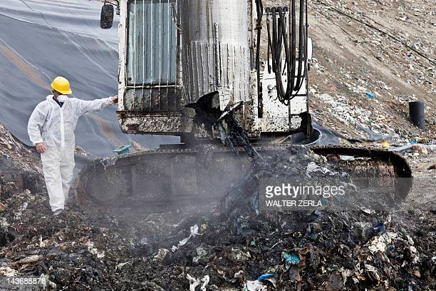 Worker at garbage collection center