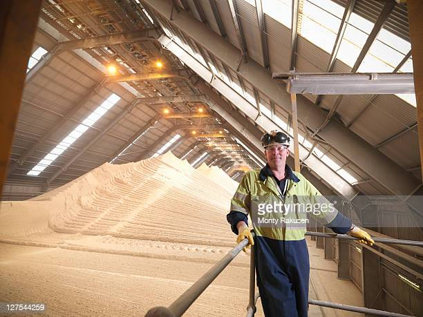 Worker at gypsum facility