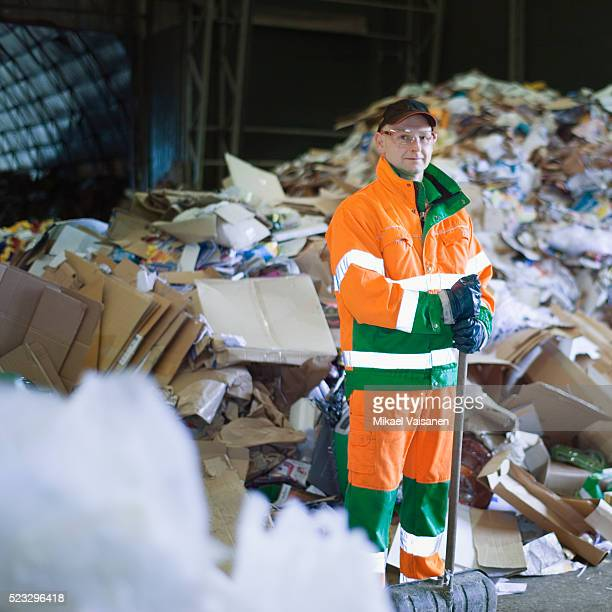 Worker at recycling center