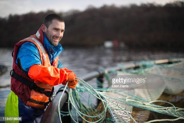 worker at salmon farm in rural lake - aquaculture stock pictures, royalty-free photos & images