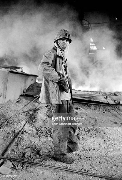 A worker at the giant Wuhan Iron and Steel Company in Hubei province on the banks of the Yangtze River