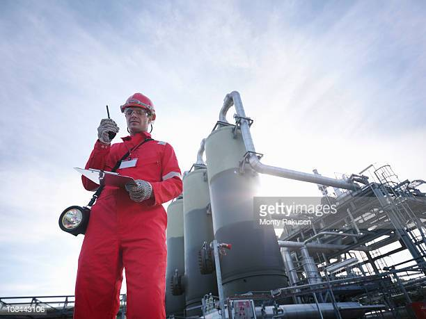 Worker at underground gas storage plant
