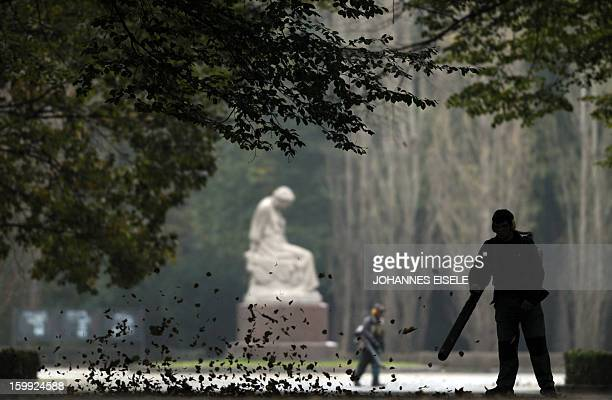 A worker blows away autumn leaves in the Treptower park on October 24 2011 in Berlin AFP PHOTO / JOHANNES EISELE